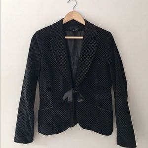 H&M Black Dotted Corduroy Jacket